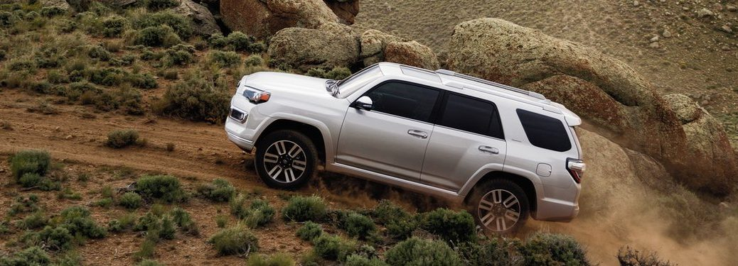 Driver angle of a white 2020 Toyota 4Runner driving off-road