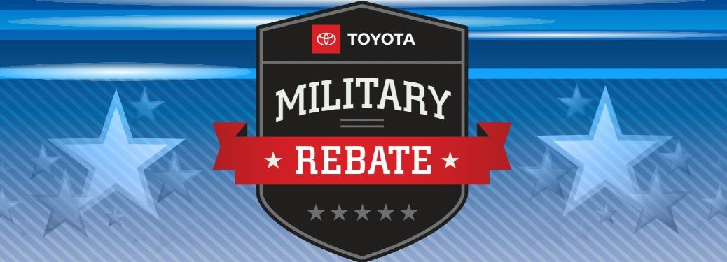 Graphic with the Toyota Military Rebate logo on a blue background