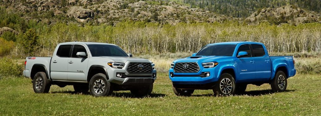 A white and a blue 2020 Toyota Tacoma parked on grass
