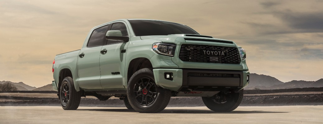 The front and side view of the 2021 Toyota Tundra TRD Pro with the new Lunar Rock exterior color.