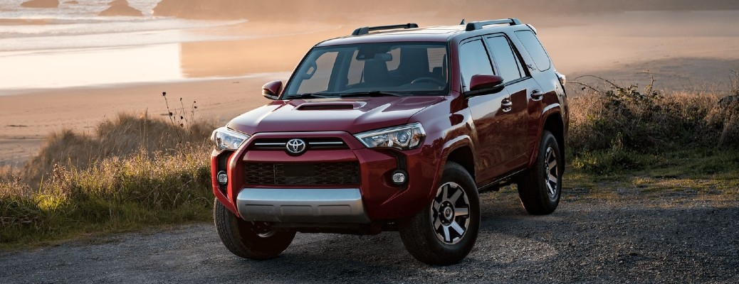 The front side of a red 2021 Toyota 4Runner TRD Off-Road.