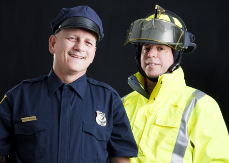 police officer and firefighter