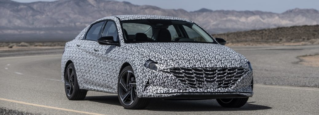 front view of camouflaged 2021 hyundai elantra n