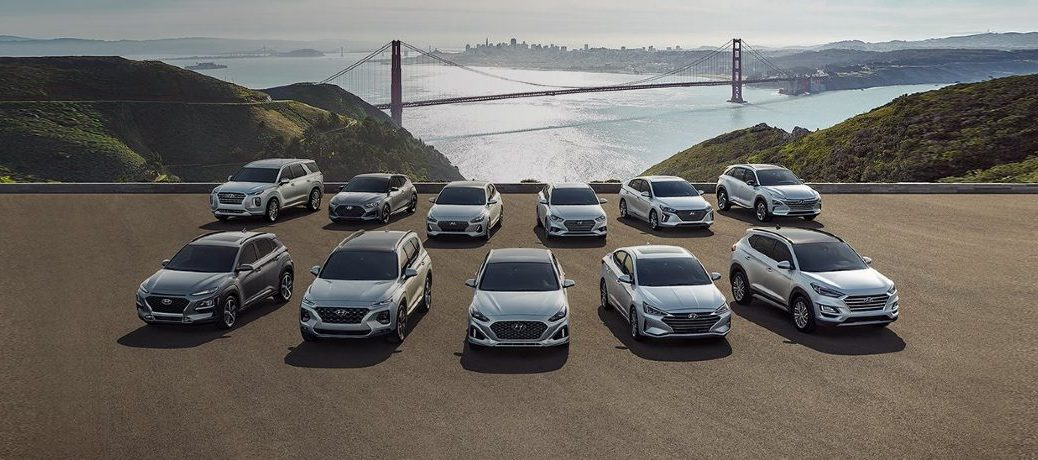 The Hyundai models lined up with the backdrop of the Golden Gate bridge.