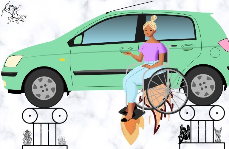 A woman in a wheelchair flies through the celestial realm to enter her new Hyundai with ease.