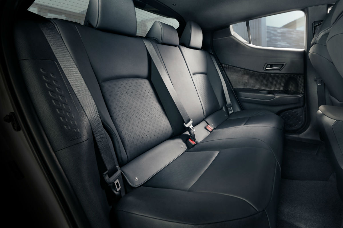 Side view of the rear seats in the 2019 Toyota C-HR