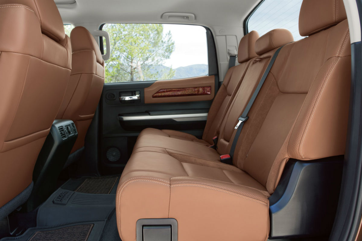 Side view of the rear seats of the 2019 Toyota Tundra