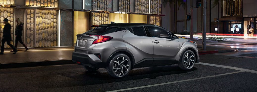 Passenger side exterior view of a gray 2019 Toyota C-HR