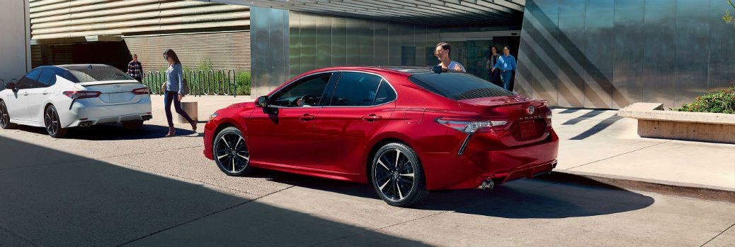 2019 Toyota Camry XSE V6 Wind Chill Pearl and Supersonic Red Exterior Driver Side Rear