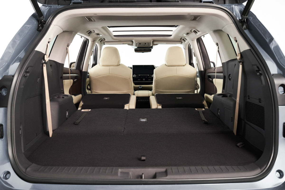 Rear seats folded flat in the 2020 Toyota Highlander for maximum storage space