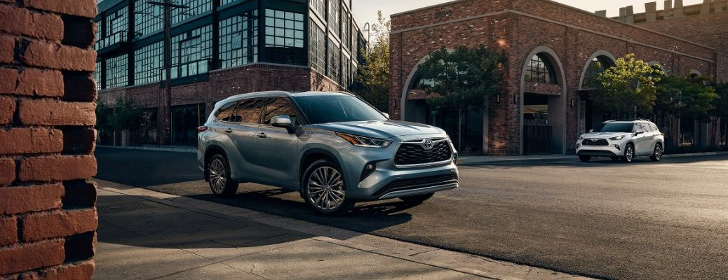 2021 Toyota Highlander parked downtown