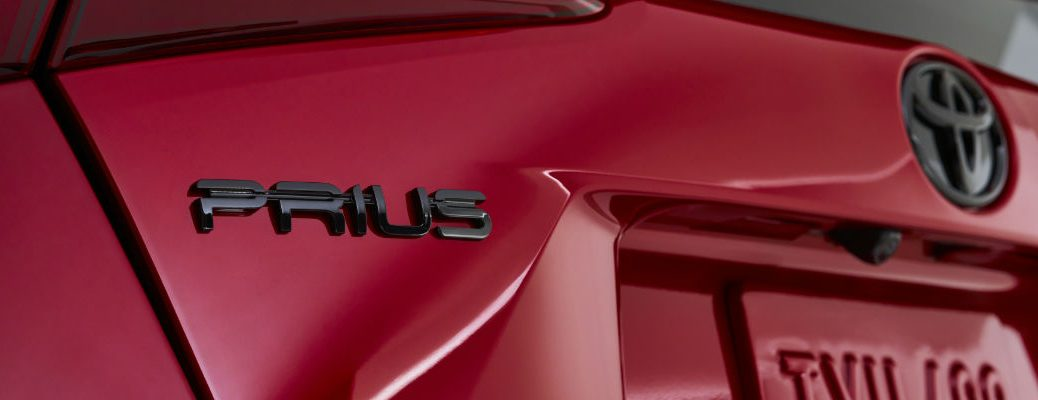 A photo of the Prius badge used on the 2021 Toyota Prius.