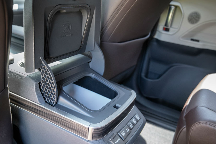 A photo of the available refrigerator in the 2021 Toyota Sienna.