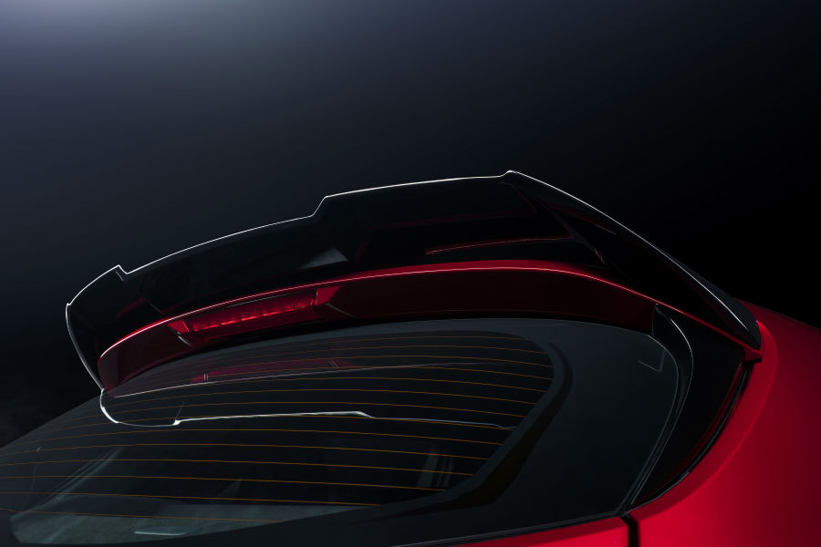 A photo of the black roof-mounted spoiler on the rear of the 2021 Toyota Corolla Hatchback Special Edition.
