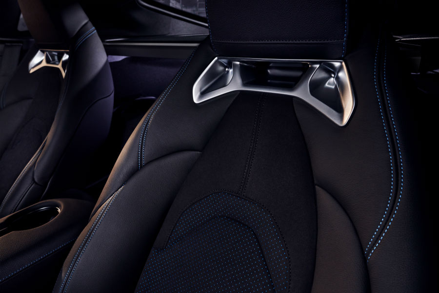 A photo of the special stitching used on the seats of the 2021 Toyota Supra A91.