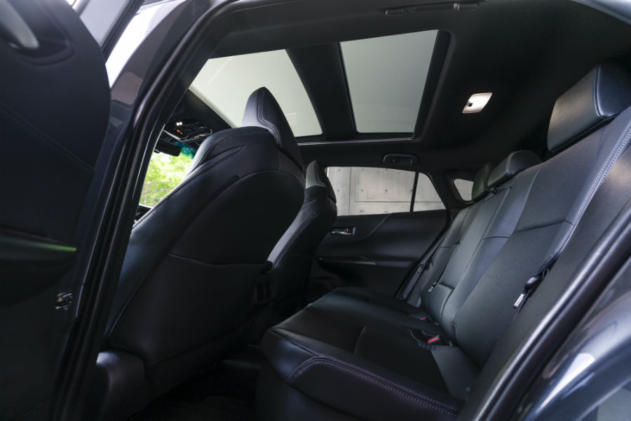A photo of the back seats in the 2021 Toyota Venza.