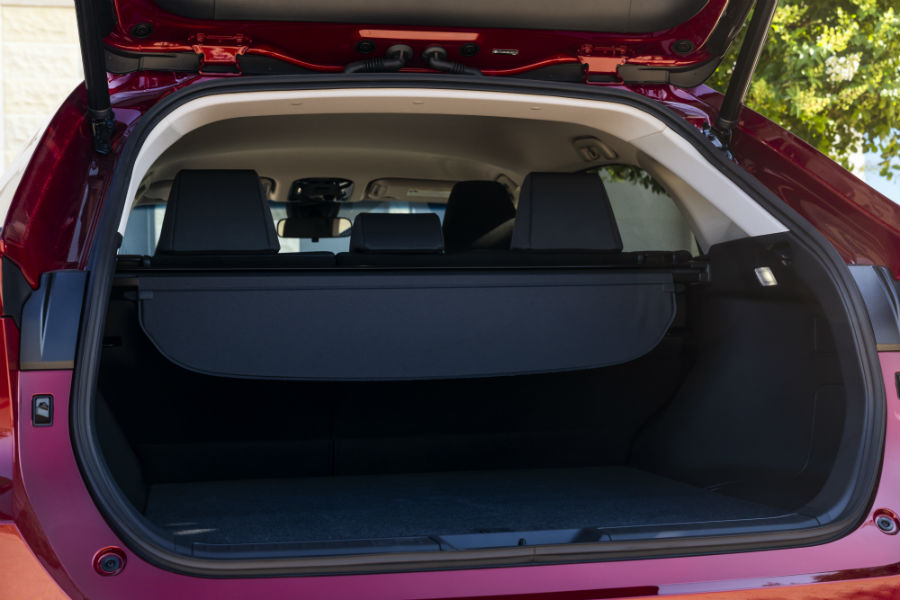 A photo of the cargo area in the back of the 2021 Toyota Venza.