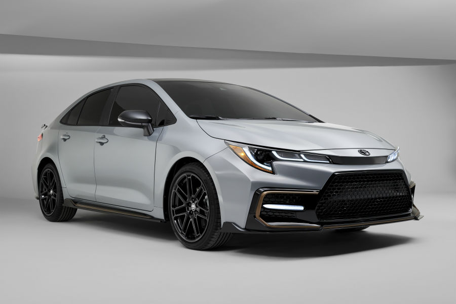 A front right quarter photo of the 2021 Toyota Corolla Apex Edition.