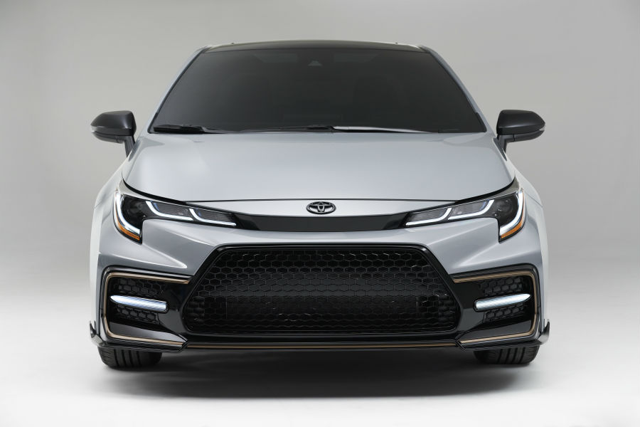 A head-on photo of the 2021 Toyota Corolla Apex Edition.