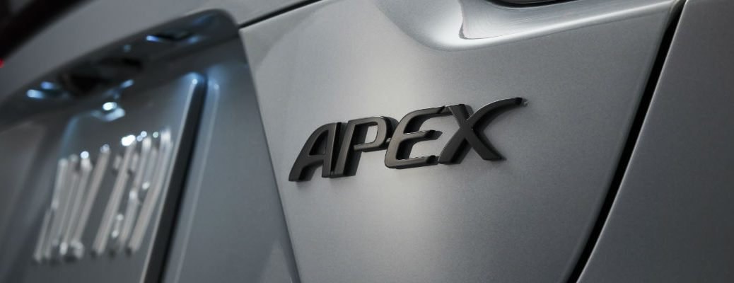 A photo of the Apex badge used on the back of the 2021 Toyota Corolla Apex.