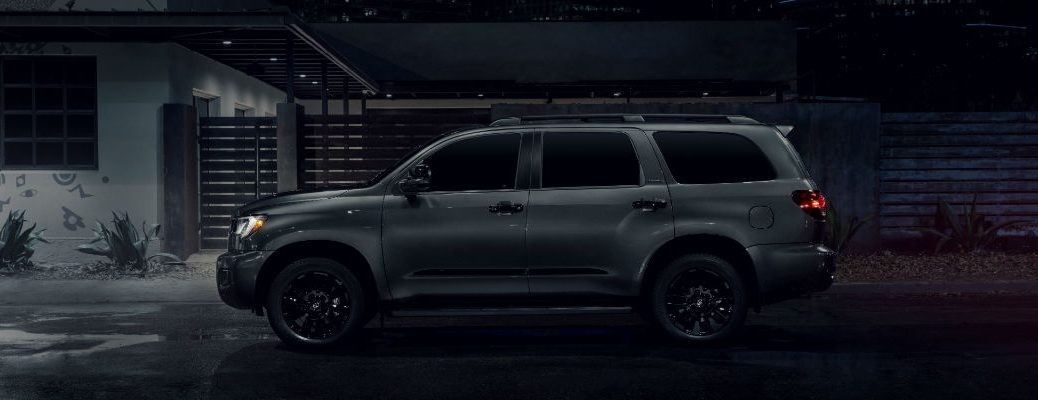 A left profile photo of the 2021 Toyota Sequoia Nightshade Edition.