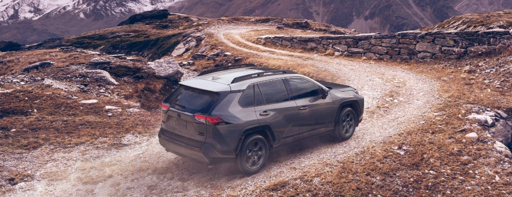 A photo of the 2020 Toyota RAV4 on a gravel road.