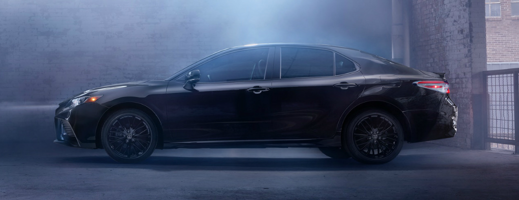 Side view of black 2020 Toyota Camry