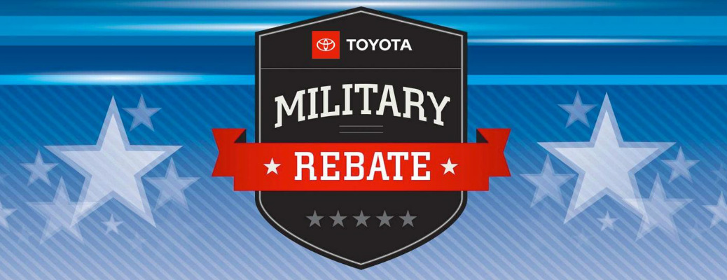 Toyota Military Rebate title with stars in the background