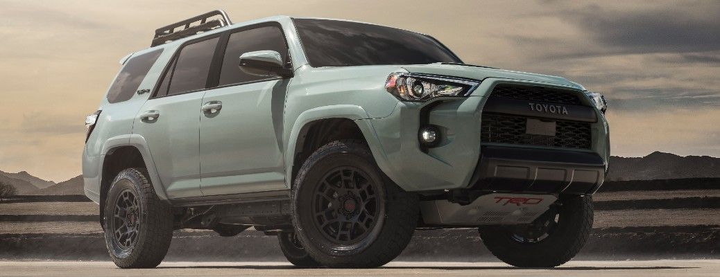 Passenger's side front angle view of white 2021 Toyota 4Runner