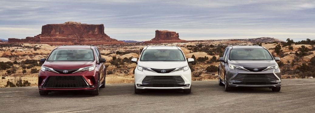 Red, White and Gray 2021 Toyota Sienna Models in the Desert