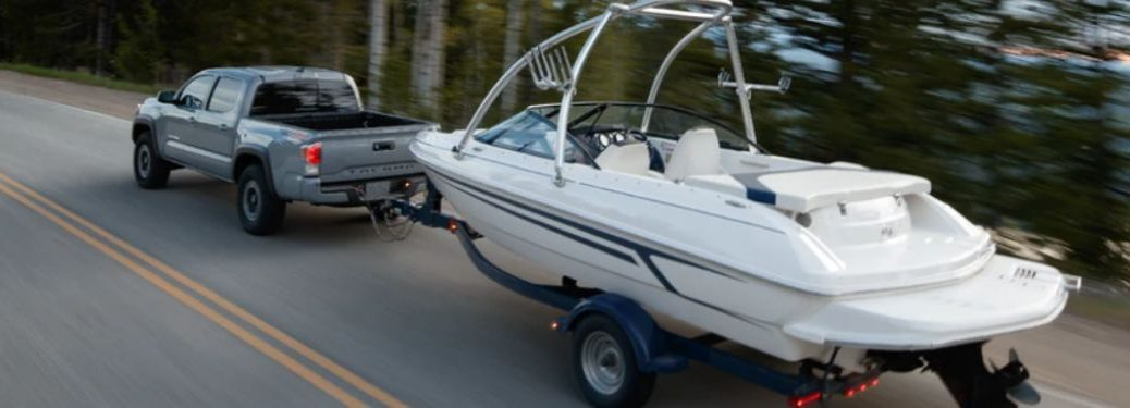 Gray 2020 Toyota Tacoma Towing a Boat