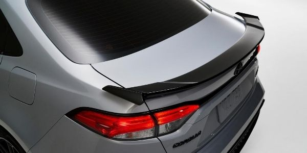 Close Up of 2021 Toyota Corolla Apex Edition Rear Spoiler