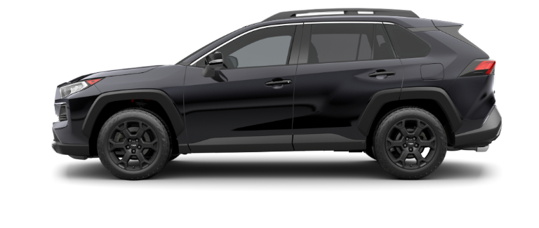 Midnight Black Metallic 2020 Toyota RAV4 on White Background