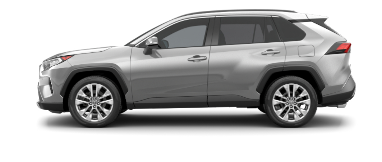 Silver Sky Metallic 2020 Toyota RAV4 on White Background