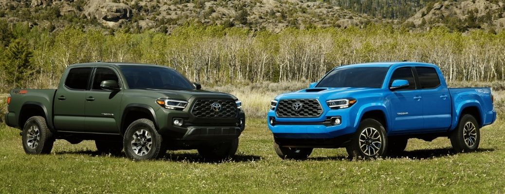 two 2021 Toyota Tacoma models in a field