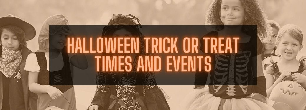 Kids Trick or Treating with Orange Halloween Trick or Treat Times and Events Text on Black Background