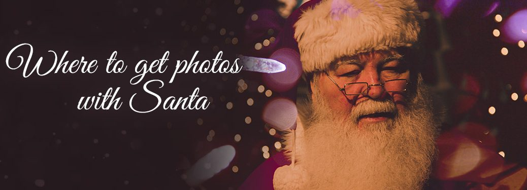 """An image of Santa Claus with the words """"where to get pictures with Santa"""""""