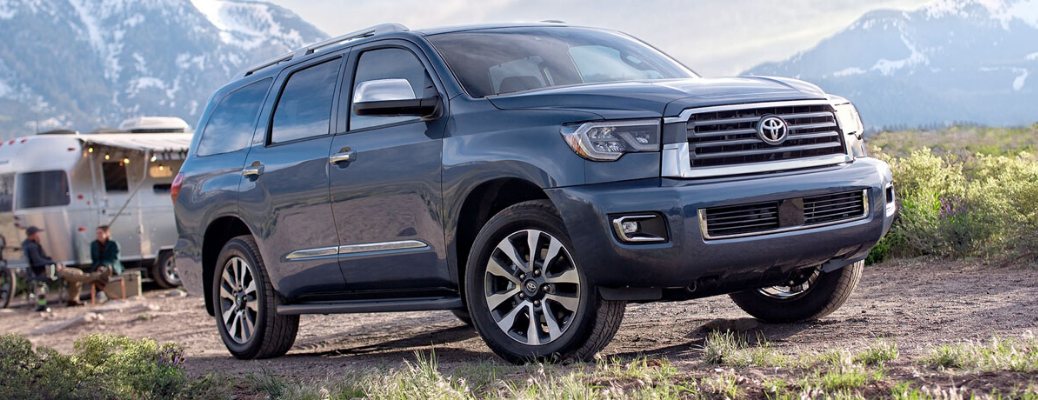 Front view of blue 2020 Toyota Sequoia