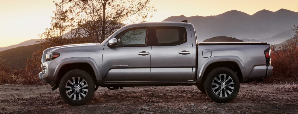 Side view of silver 2020 Toyota Tacoma Limited