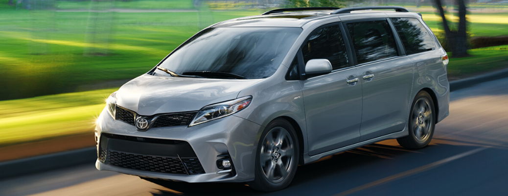 Side view of 2020 Toyota Sienna in Celestial Silver Metallic on the road