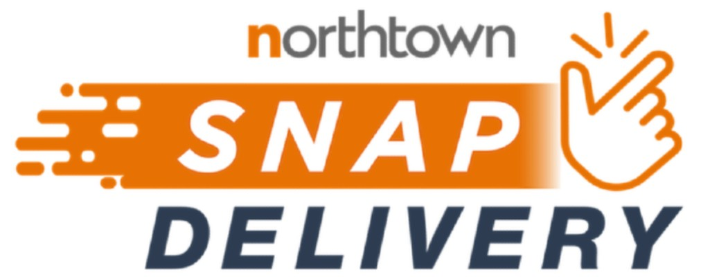 The logo for Northtown Snap Delivery, which has a hand snapping to the right of the logo.
