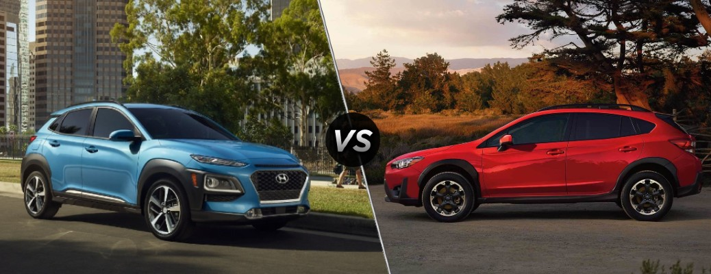 A blue 2021 Hyundai Kona compared to a red 2021 Subaru Crosstrek.