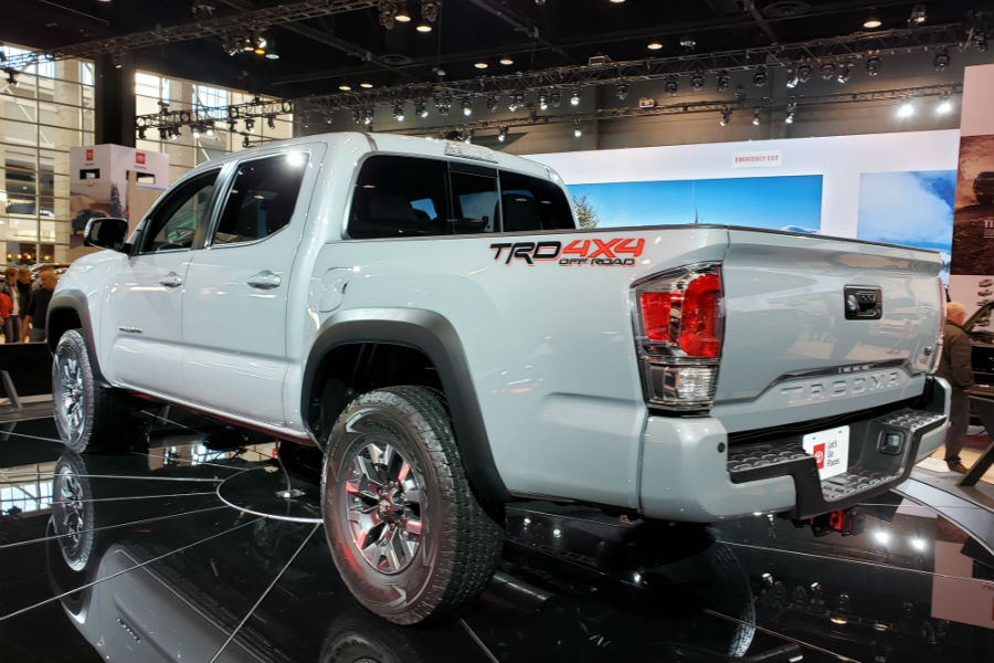 A left rear quarter of the 2020 Toyota Tacoma at the Chicago Auto Show.