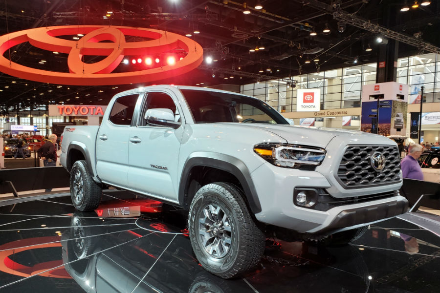 A front right quarter photo of the 2020 Toyota Tacoma at the Chicago Auto Show.