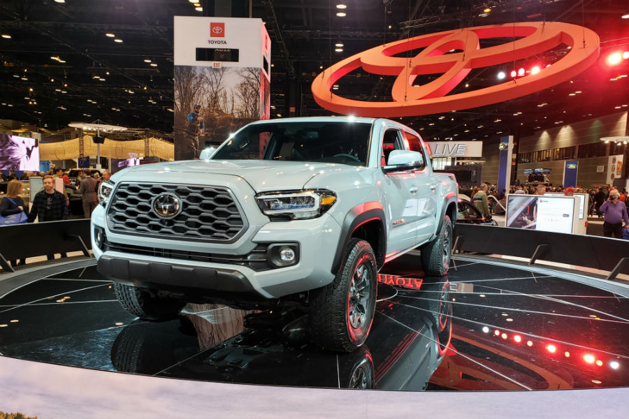 A head-on photo of the 2020 Toyota Tacoma at the Chicago Auto Show.