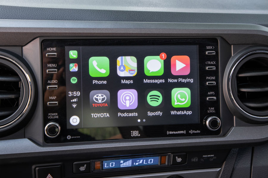 A photo of the touchscreen interface in the 2020 Toyota Tacoma.