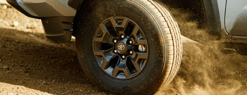 A photo of a tire used by a forthcoming Toyota model debuting at the Chicago Auto Show.