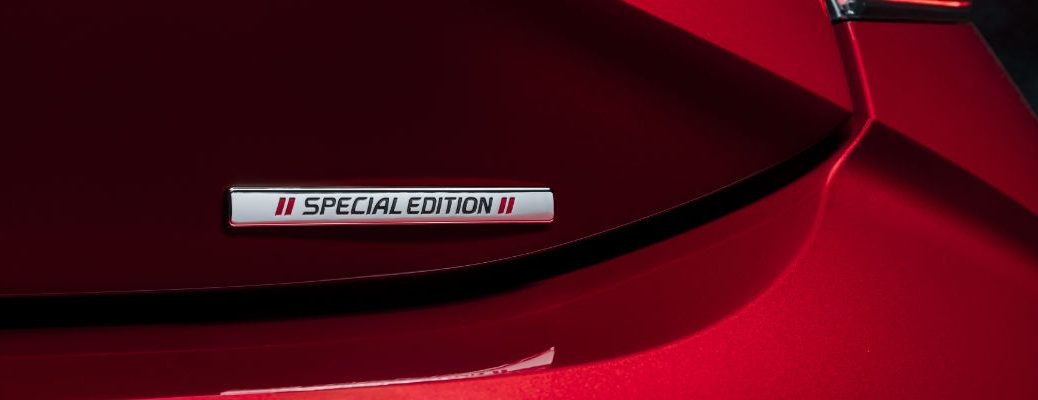 A photo of the Special Edition badge used on the 2021 Toyota Corolla Hatchback Special Edition.
