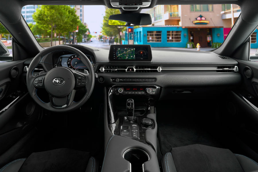 A photo of the dashboard in the 2021 Toyota Supra A91 Edition.