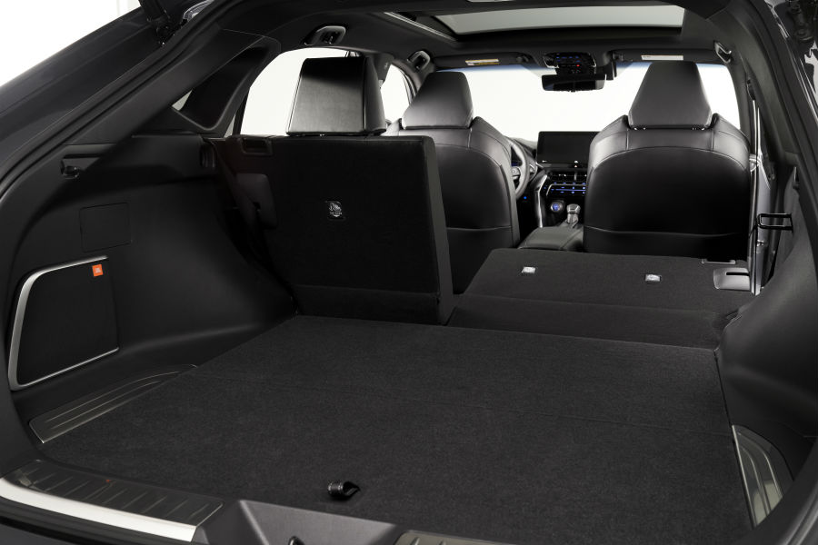 A photo of the cargo room available in the back of the 2021 Toyota Venza.